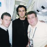 Con Butragueño y Kiko en un vuelo de regreso del Mundial de Corea-Japón.