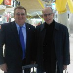 Con Luis Suarez en Barajas.