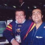 Con Kiko Narváez, narrando el Mundial 2002. Cadena Cope.
