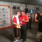 Con Andrés Iniesta en la fiesta de Campeones del Mundo.